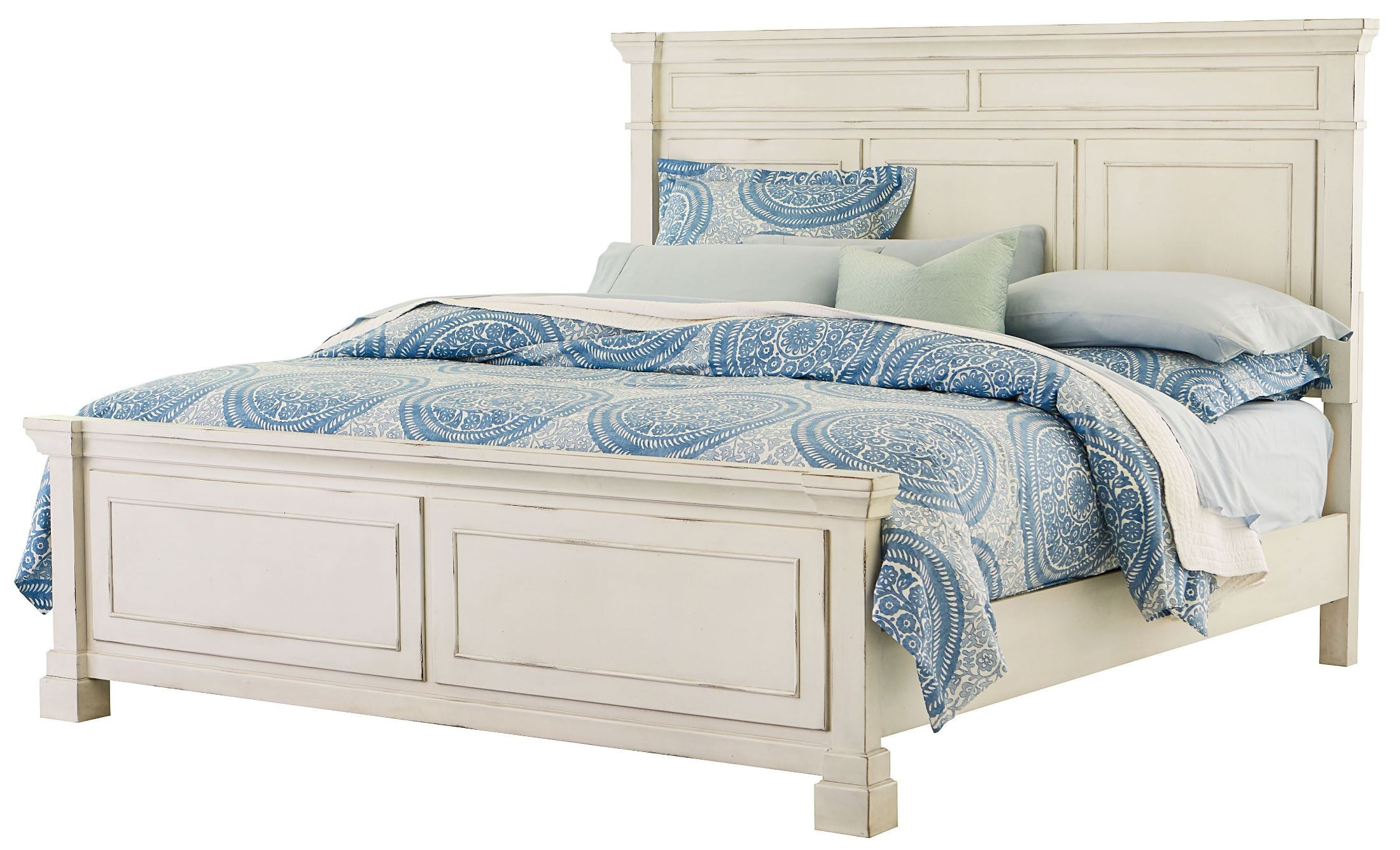 Chesapeake Bay Vintage Chalk White King Panel Bed From