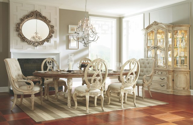 Jessica Mcclintock Boutique White Veil Oval Dining Room Set from
