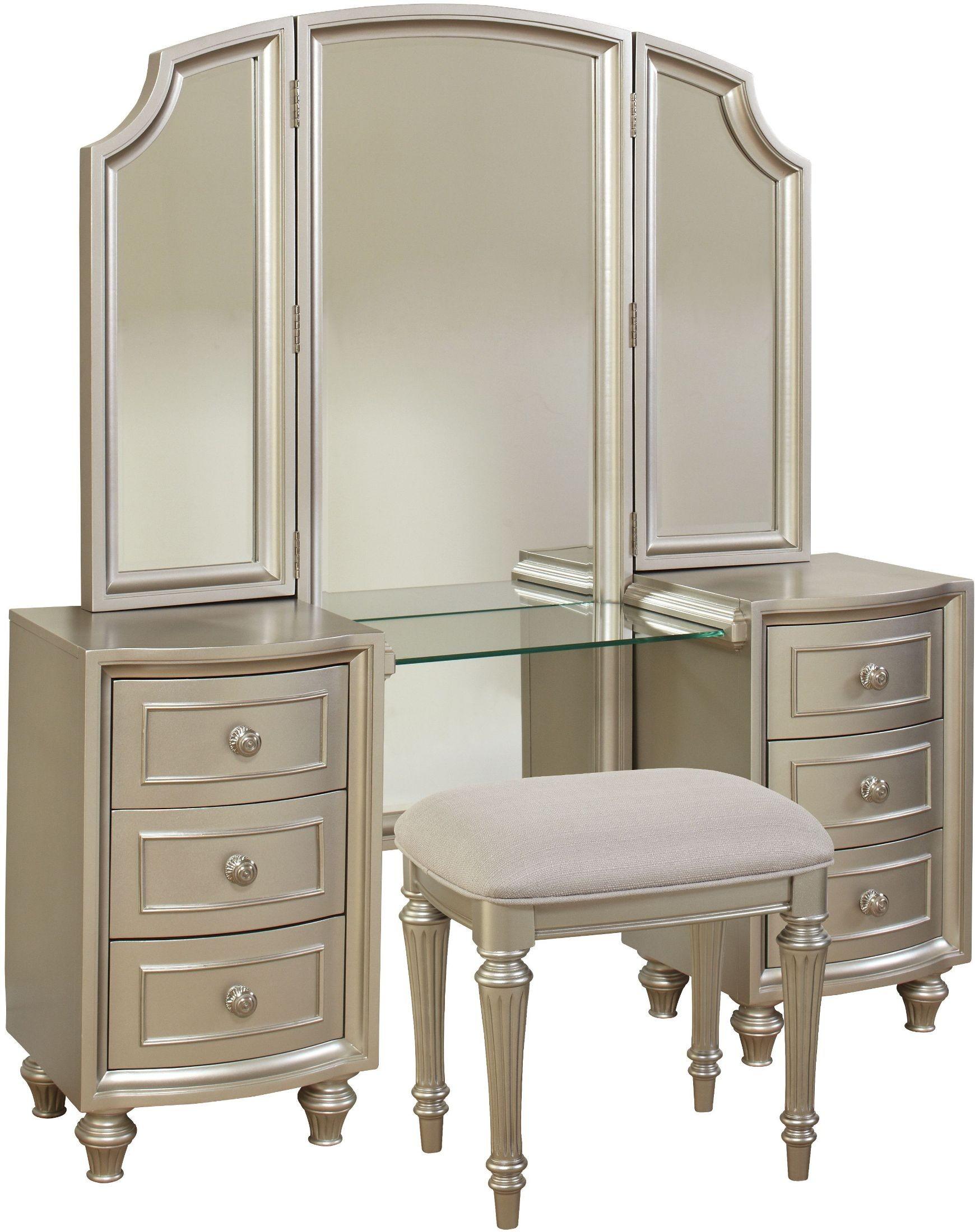 Regency Park Pearlized Silver Vanity Bench From Avalon