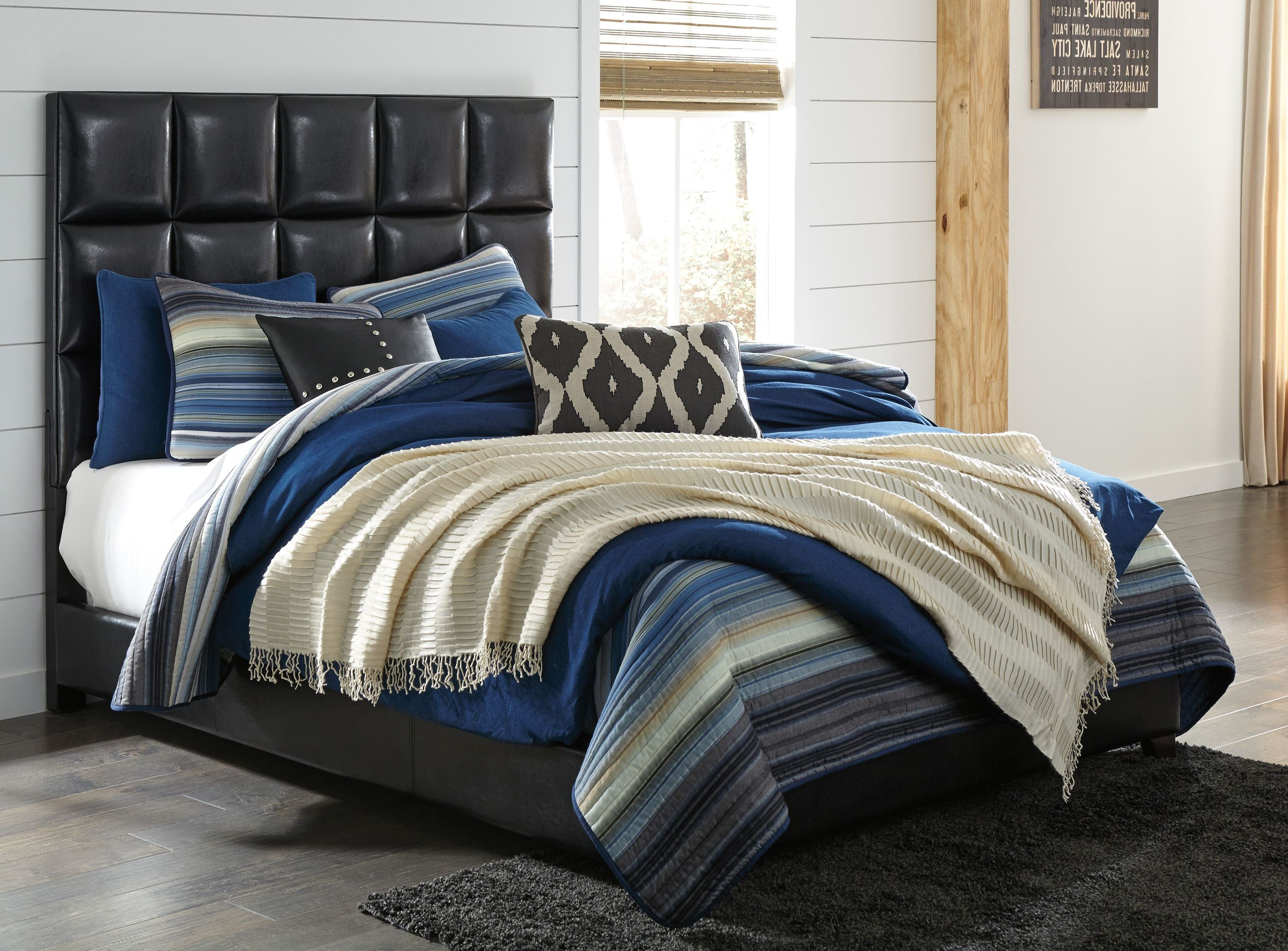 Contemporary Black King Upholstered Panel Bed From Ashley