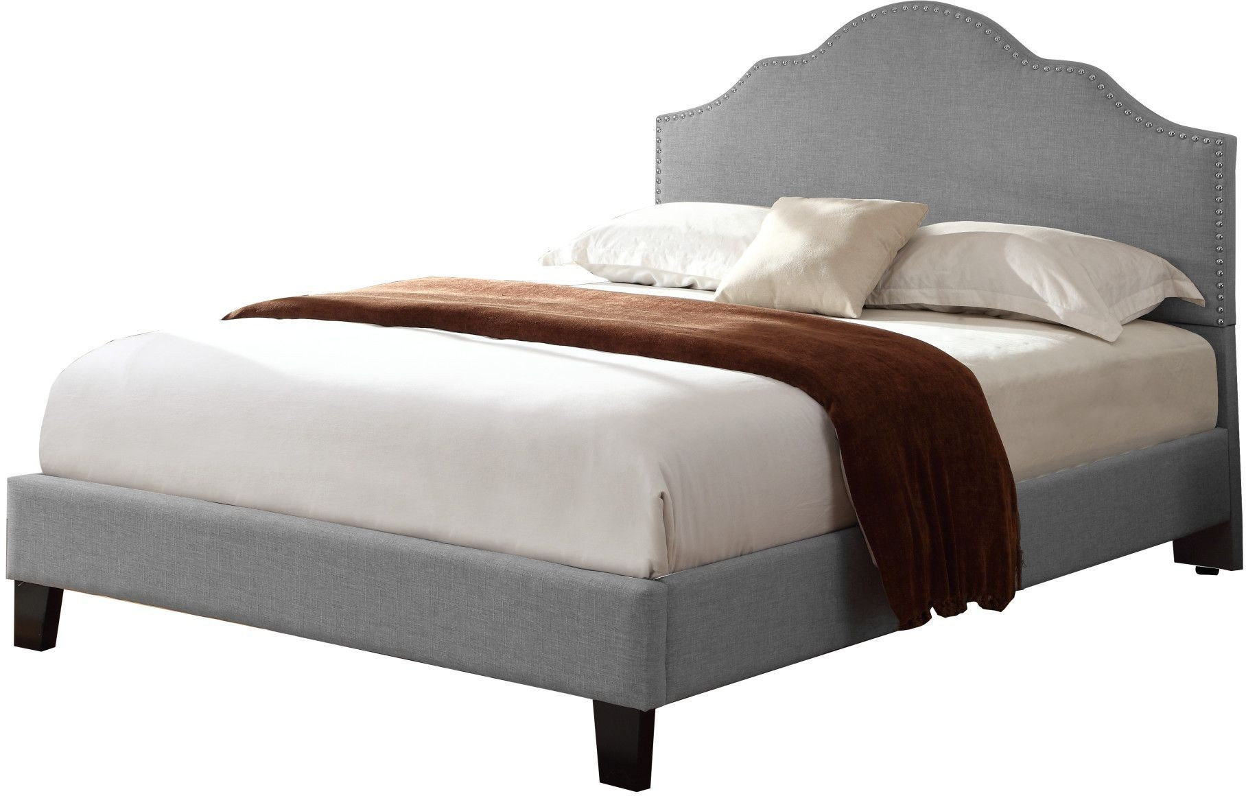 Madison Light Gray Cal King Upholstered Platform Bed From