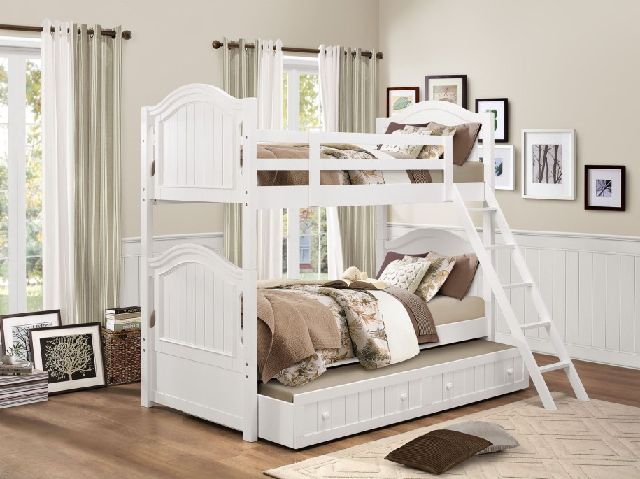 Clementine White Twin over Full Bunk Bed from Homelegance ...