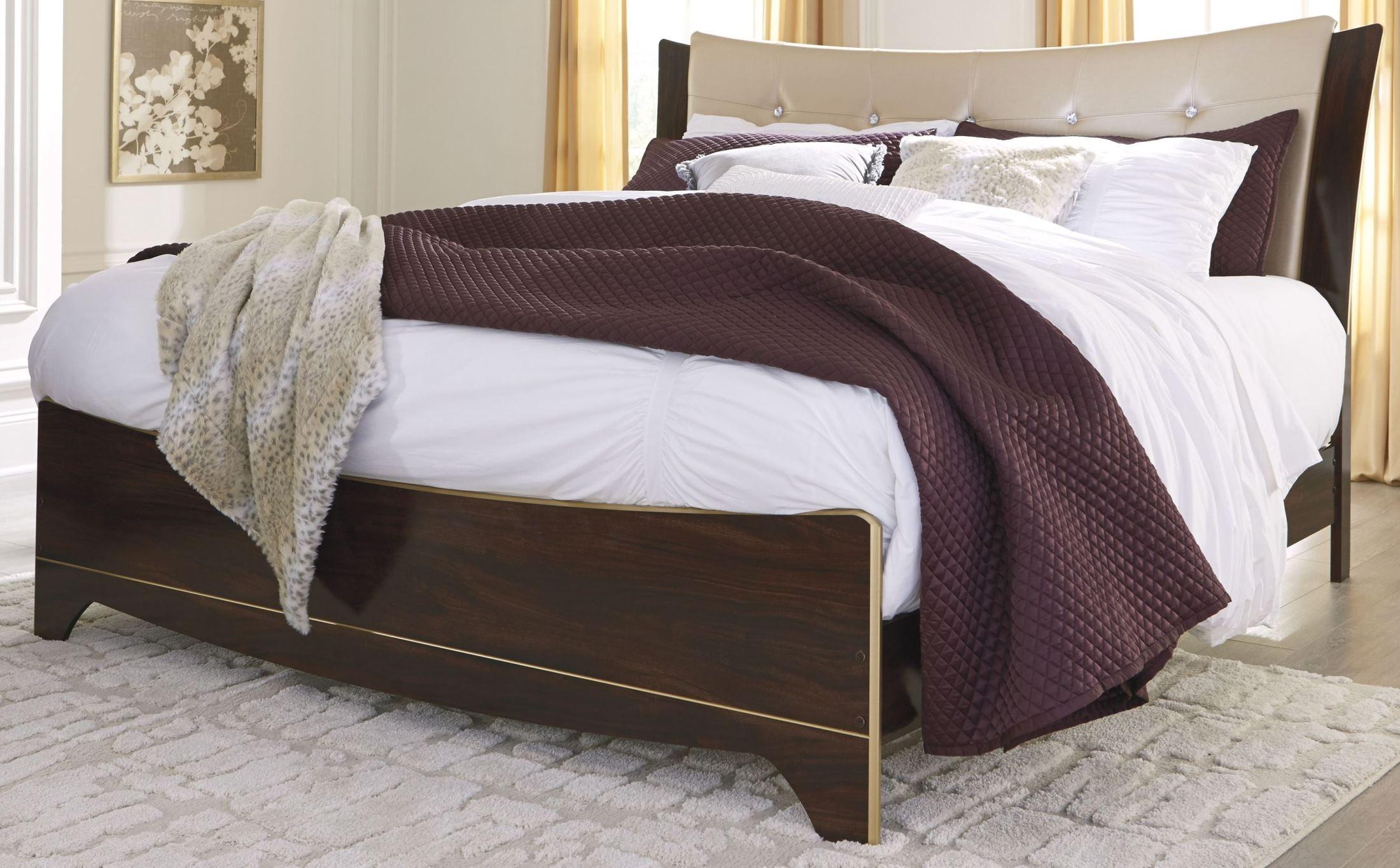 Lenmara Reddish Brown King Upholstered Panel Bed B247 56