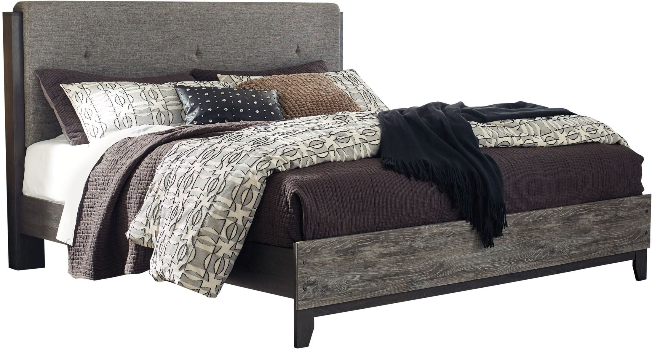 Micco Black King Upholstered Panel Bed From Ashley