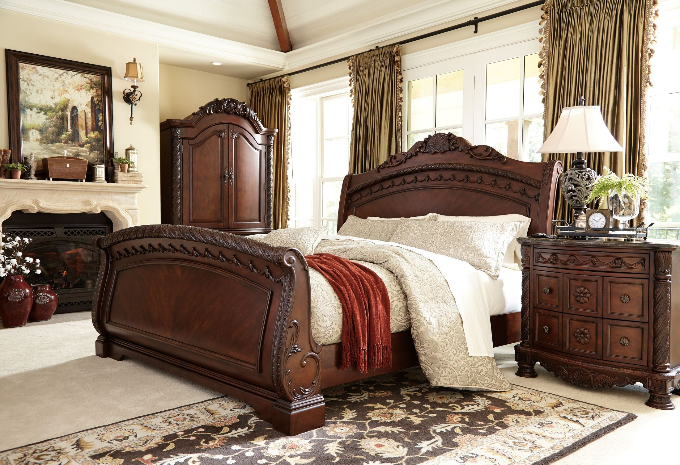 north shore sleigh bedroom set from ashley (b553)   coleman furniture