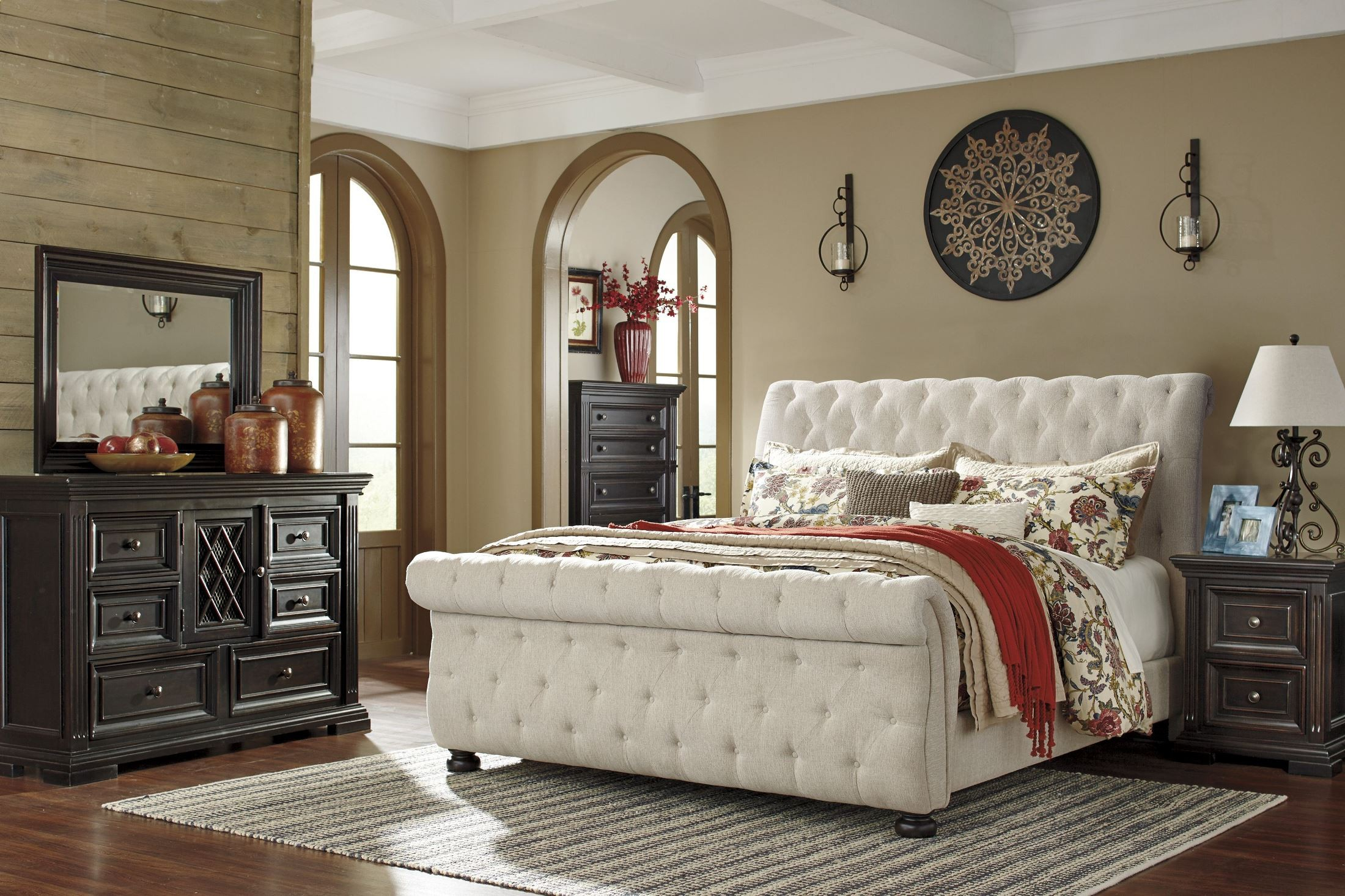 willenburg linen king upholstered sleigh bed from ashley | coleman