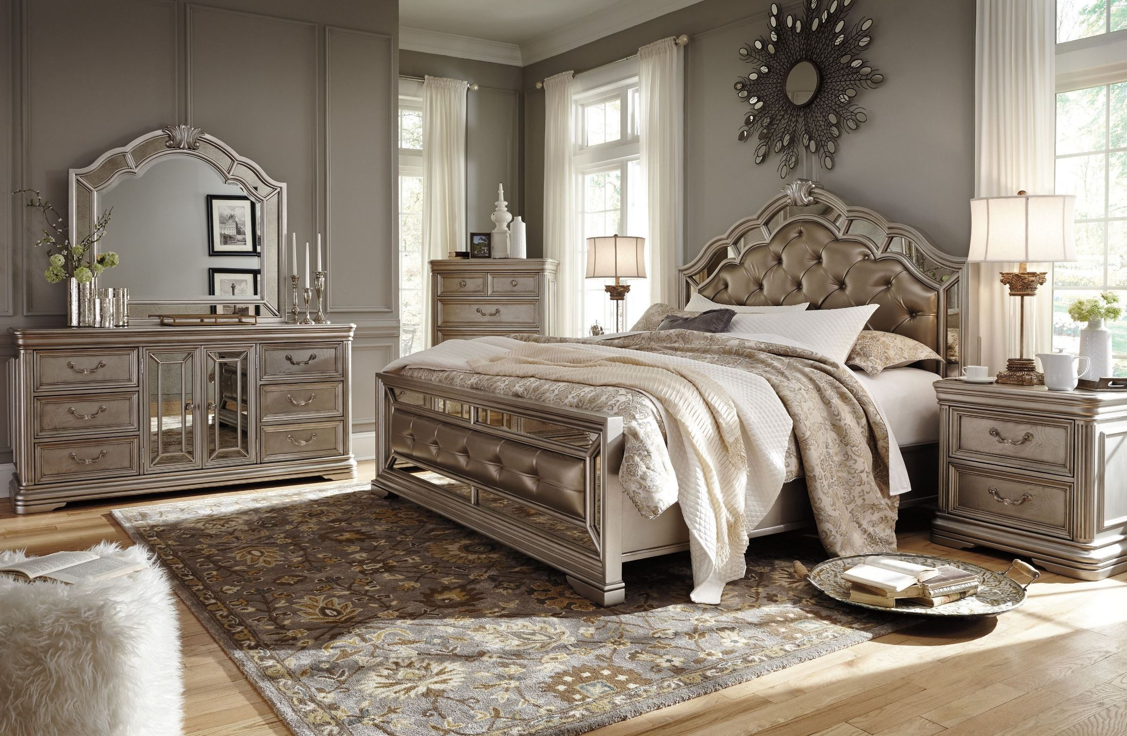 birlanny silver upholstered panel bedroom set from ashley