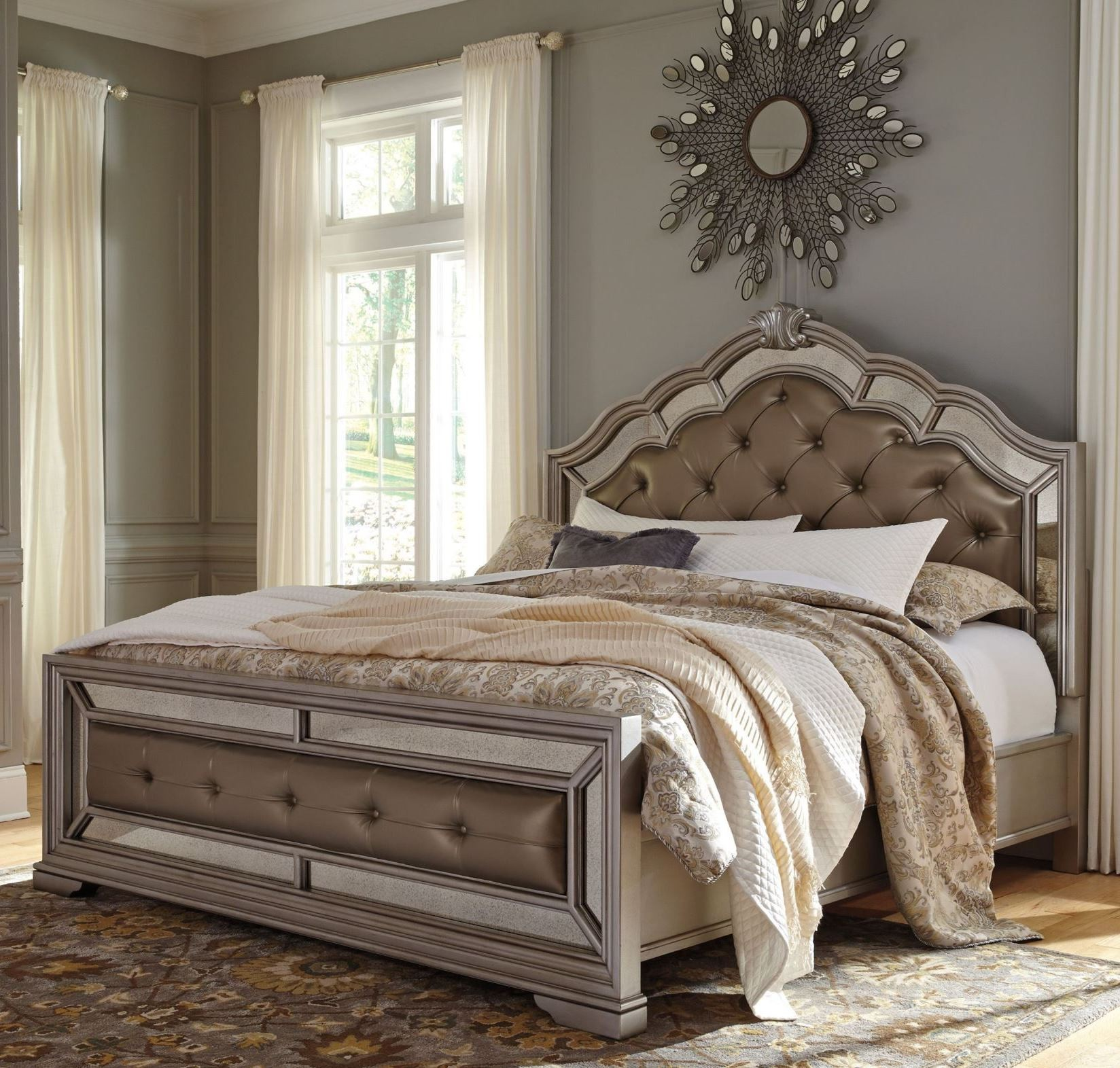 Birlanny Silver Cal King Upholstered Panel Bed From