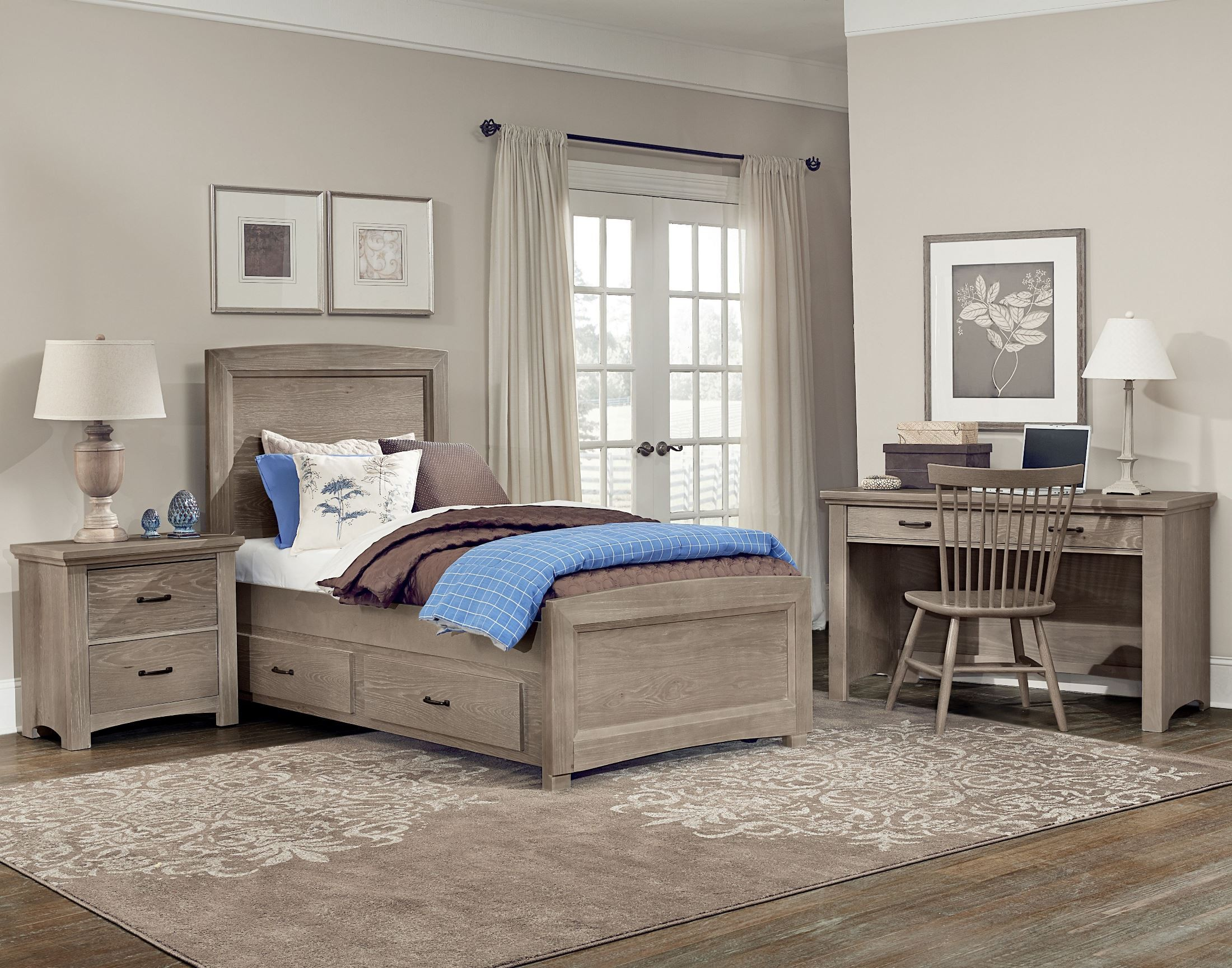 Transitions Driftwood Oak Youth One Side Storage Panel Bedroom Set From Vaughn Bassett Coleman