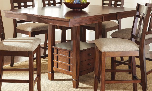 counter height storage dining table Bolton Extendable Square Counter Height Storage Dining