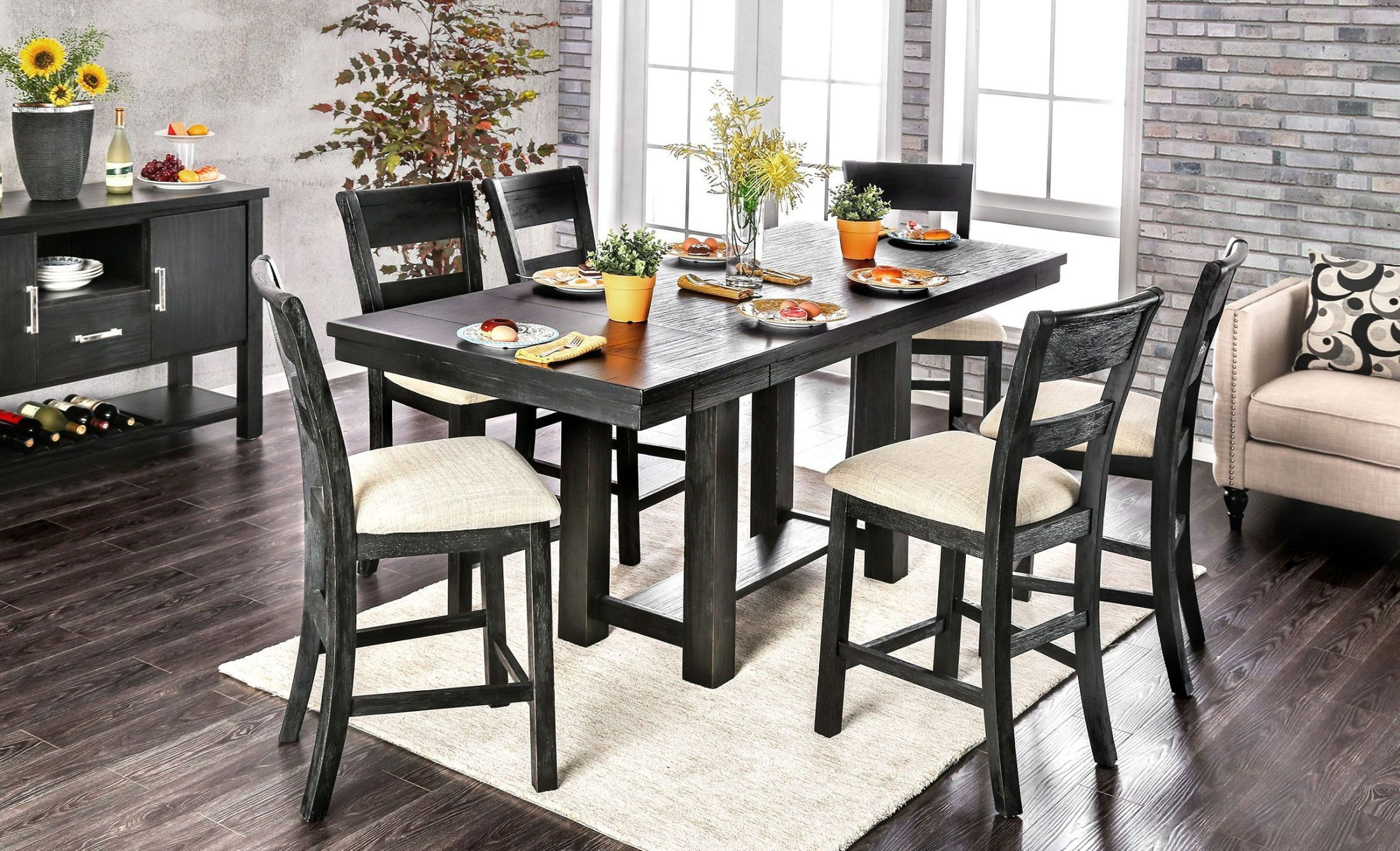 Thomaston Brushed Black Counter Height Dining Room Set