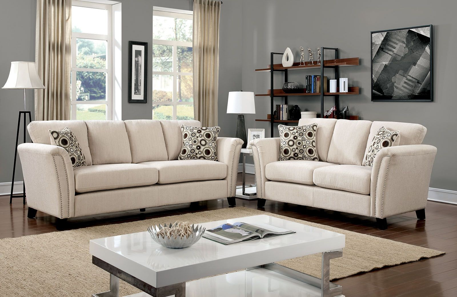 Campbell Ivory Living Room Set From Furniture Of America