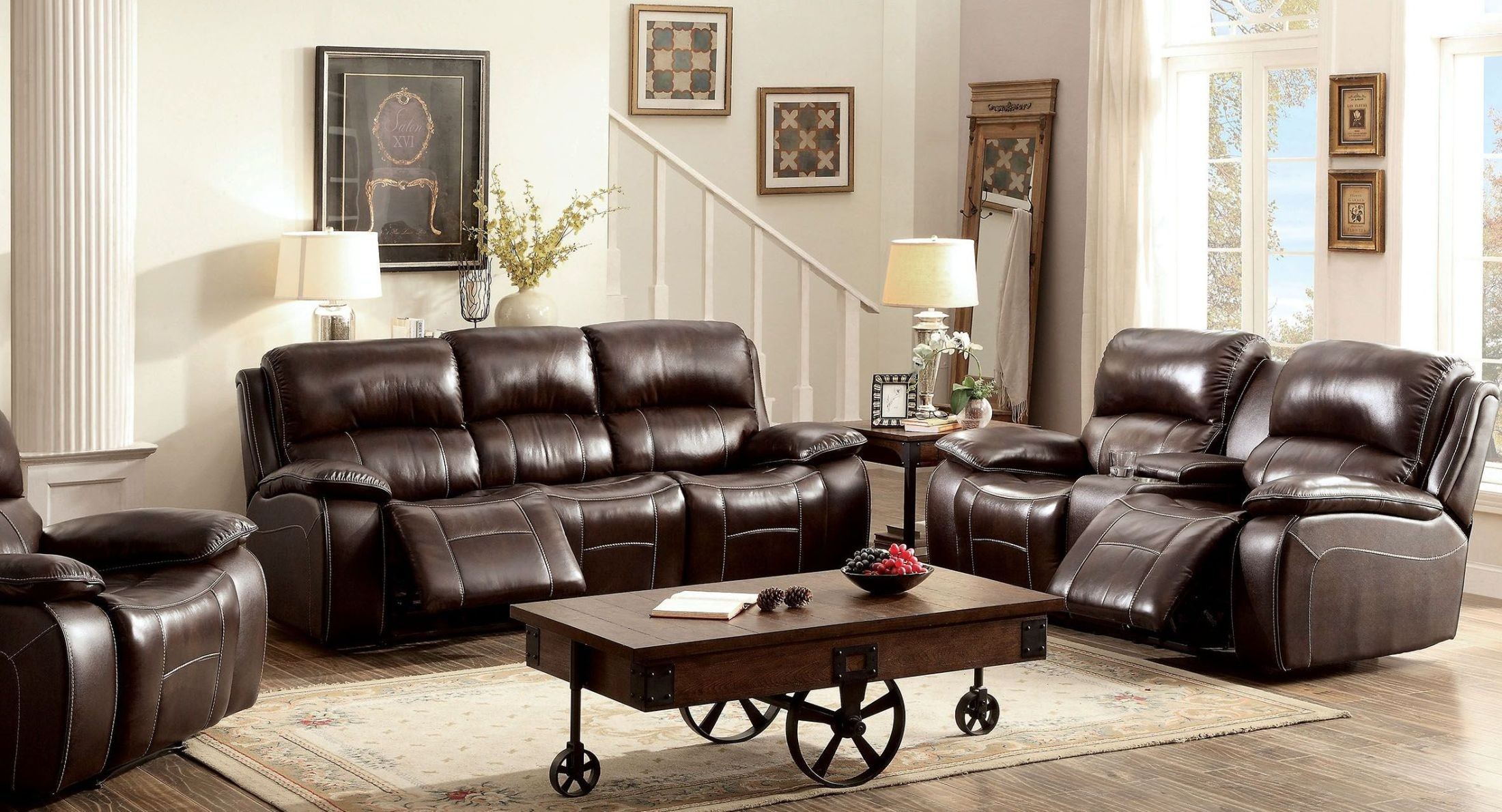 Ruth Brown Leather Reclining Living Room Set From