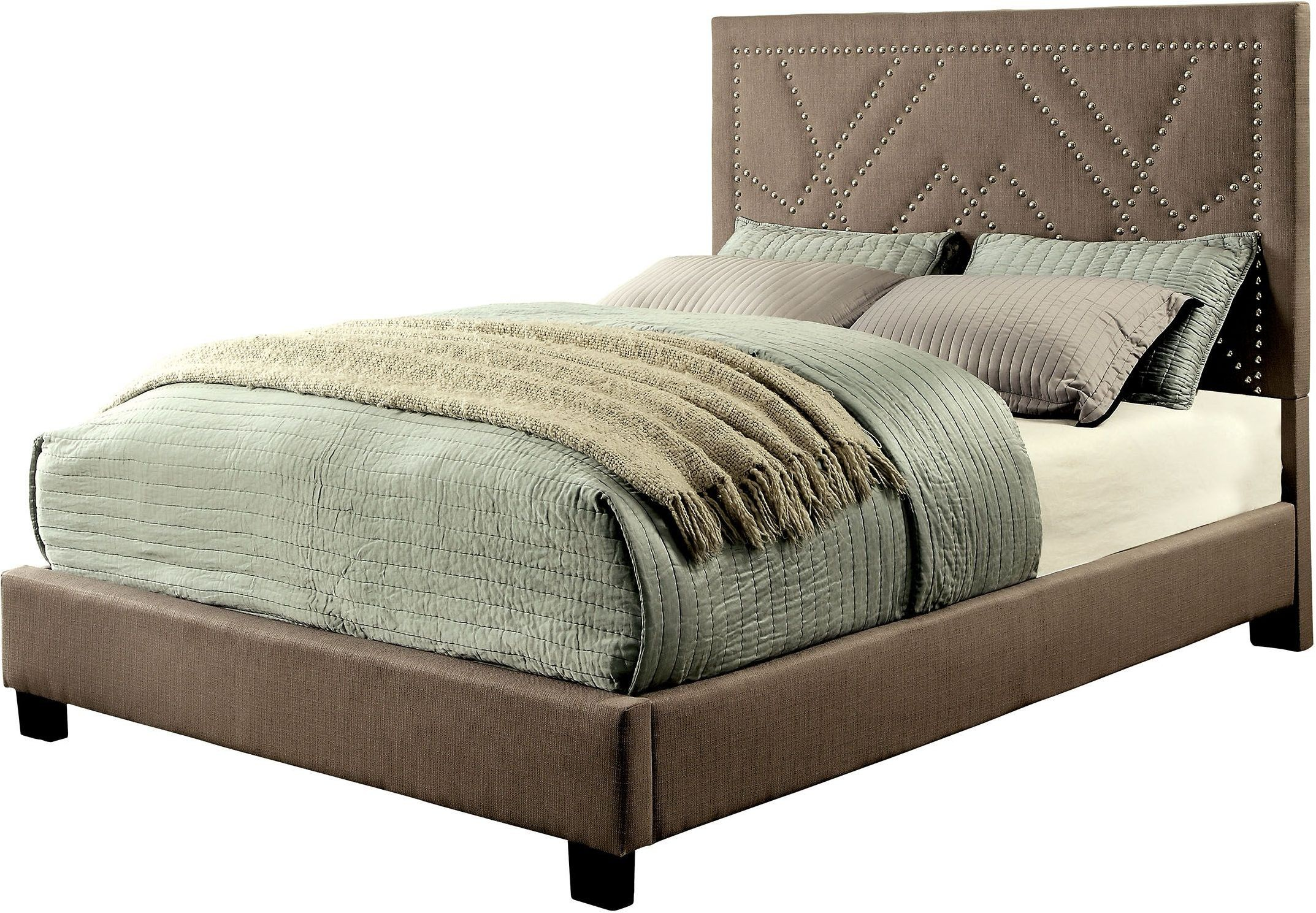 Marianne Light Brown Cal King Upholstered Platform Bed