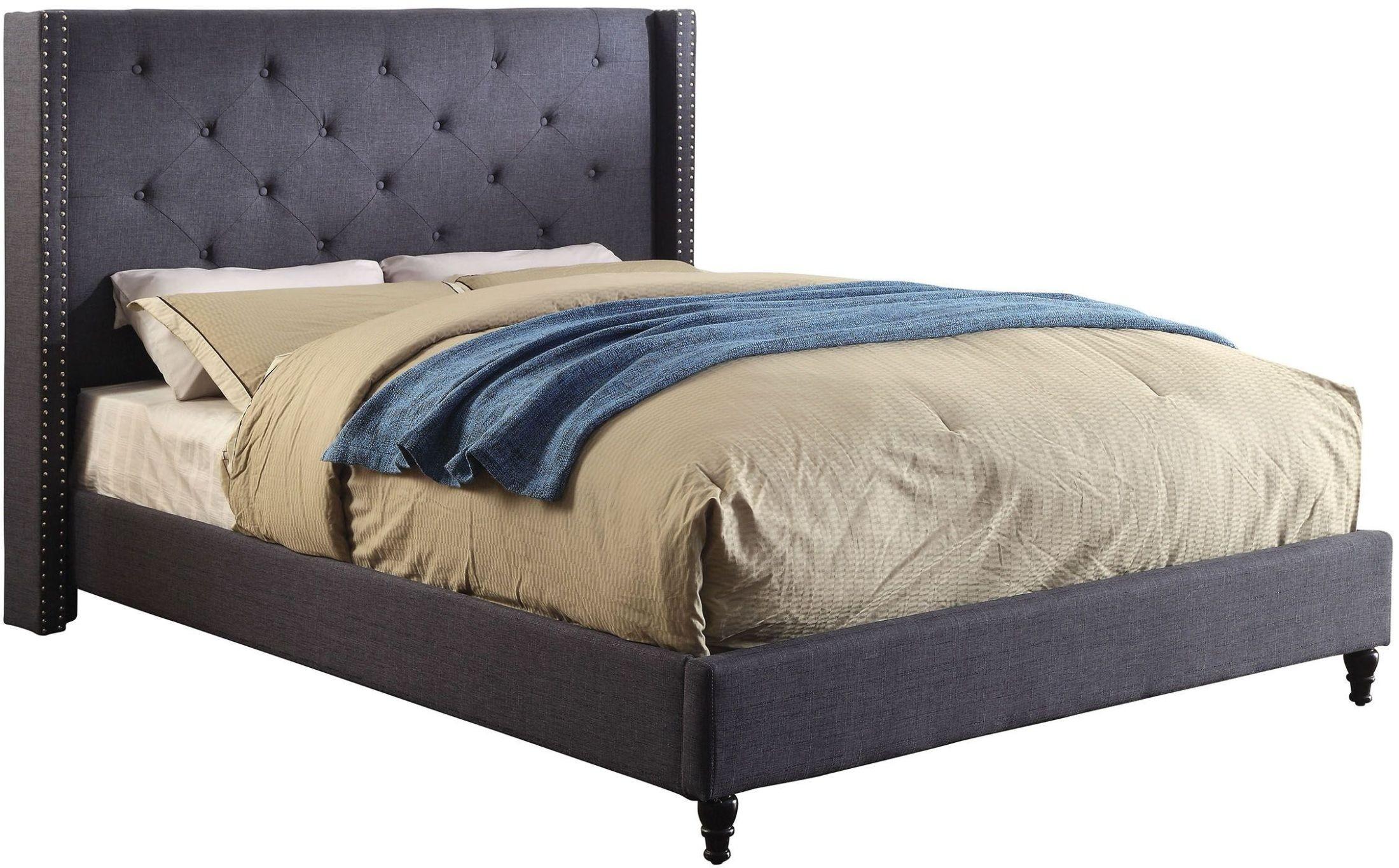 Anabelle Blue Cal King Upholstered Platform Bed Cm Bl