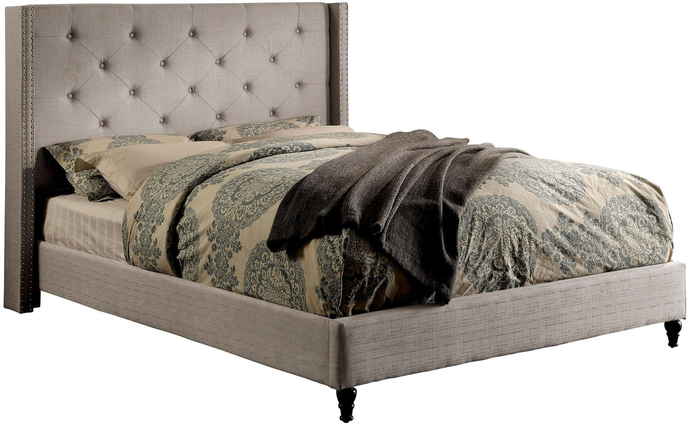 Anabelle Warm Gray Cal King Upholstered Platform Bed From