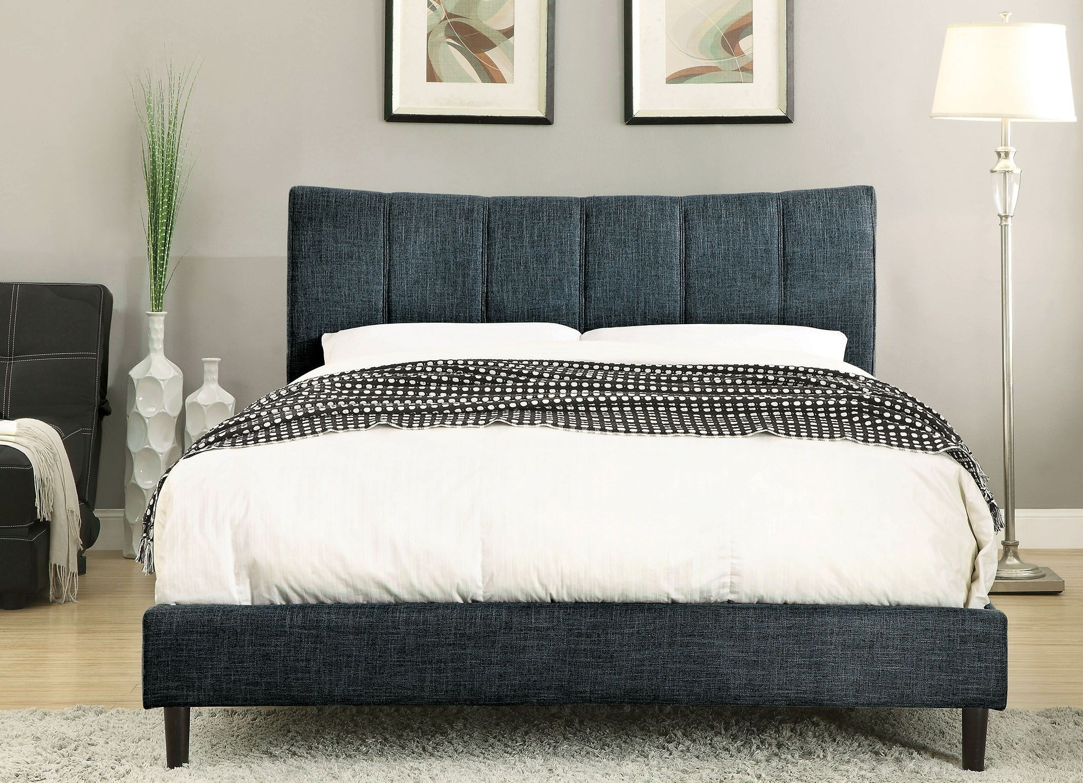 Ennis Dark Blue Cal King Upholstered Panel Bed Cm Bl