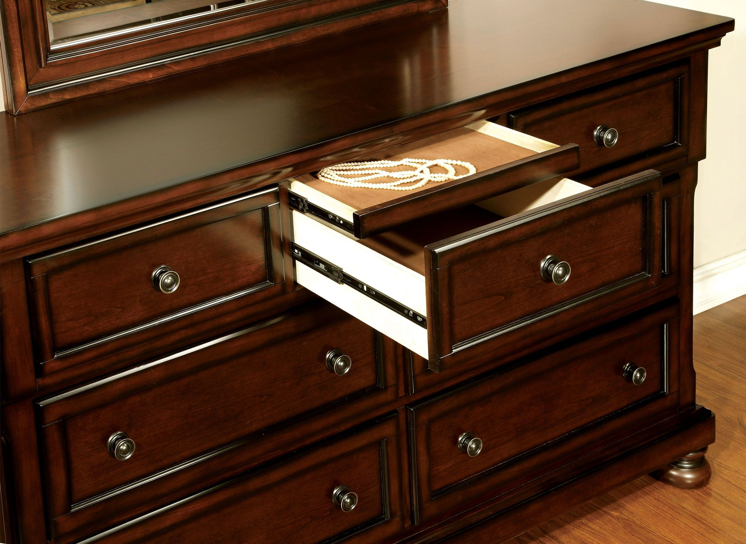 Northville Dark Cherry Bedroom Set From Furniture Of America CM7682Q BED Coleman Furniture