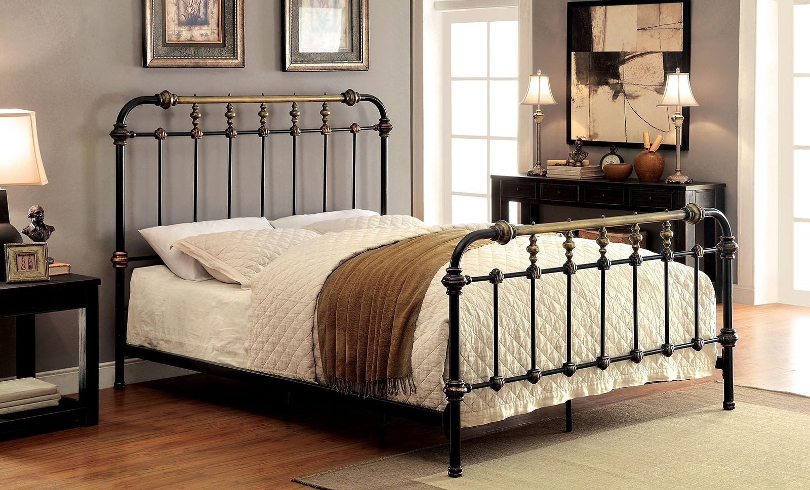 Riana Cal King Metal Bed From Furniture Of America