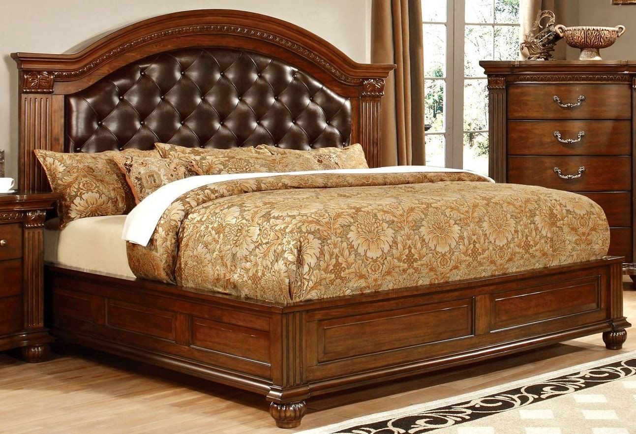 Grandom Cherry Leatherette King Bed From Furniture Of