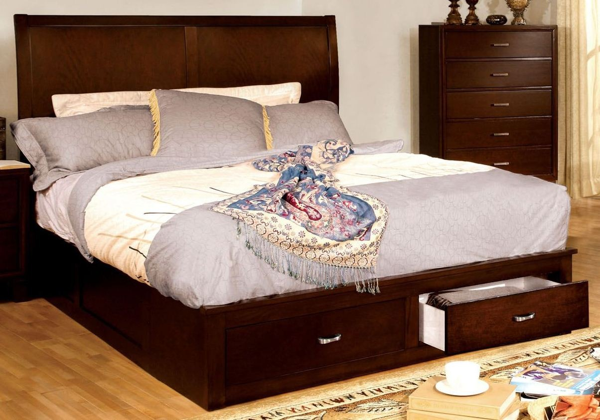 Enrico V Brown Cherry Cal King Platform Storage Bed From