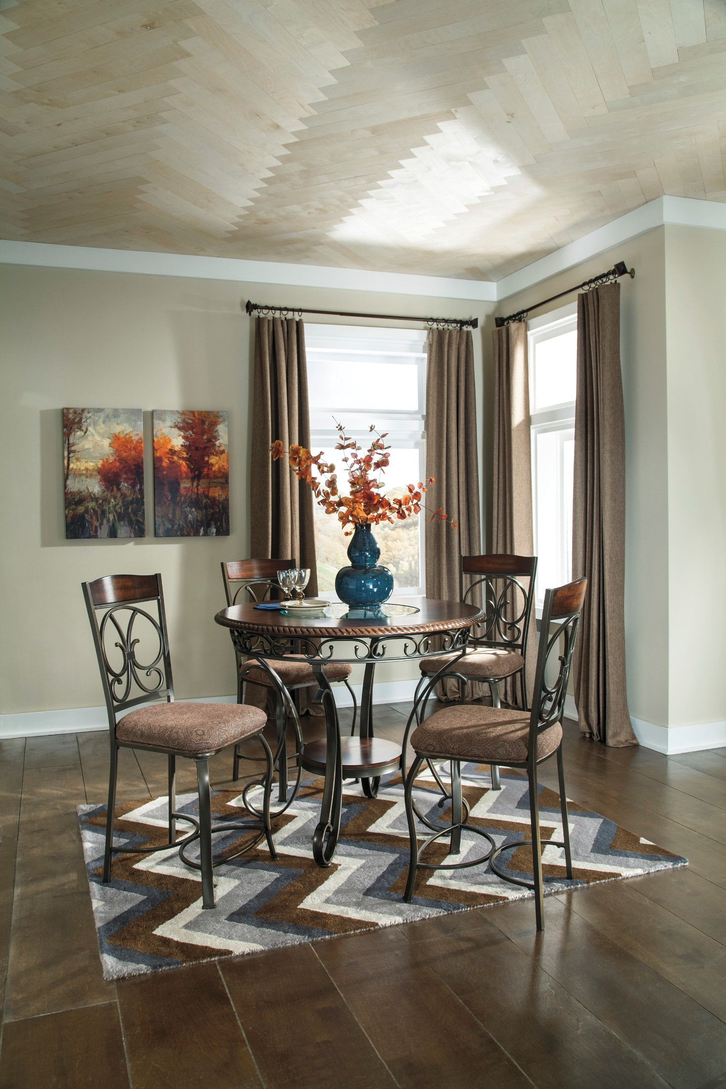 Glambrey Round Dining Room Counter Height Table Set From Ashley D329 13 Coleman Furniture