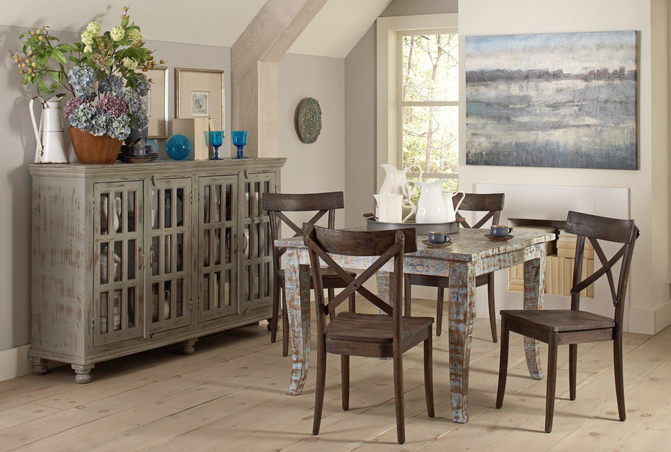 artisan hand painted square dining room set from largo on hand painted dining room tables id=58313