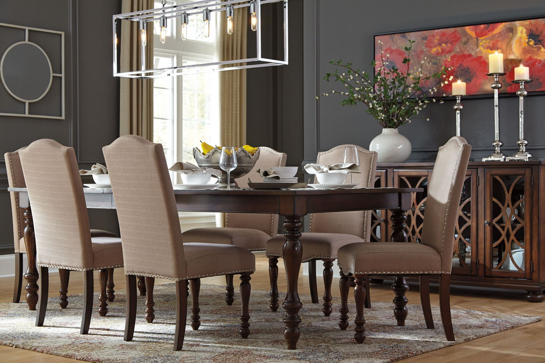 Baxenburg Brown Extendable Rectangular Dining Table From