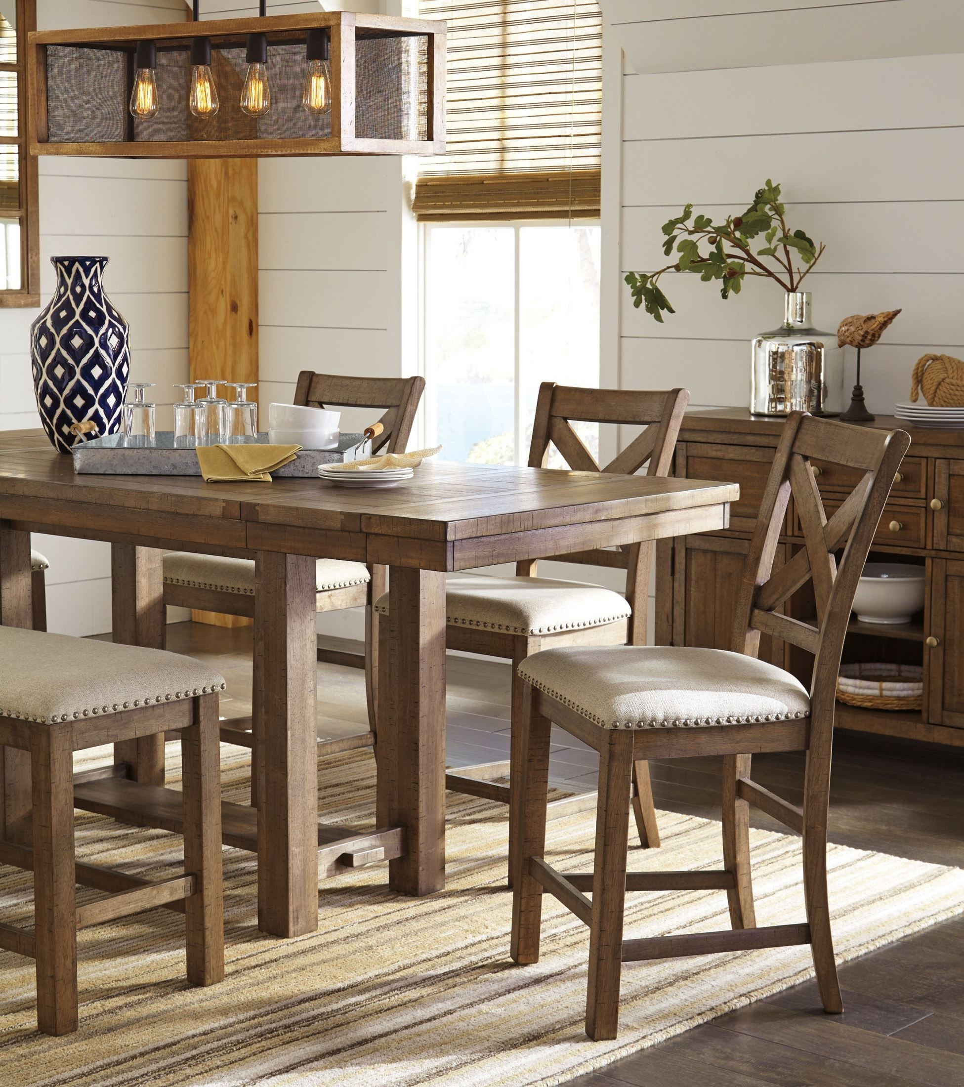 Moriville Gray Extendable Counter Height Dining Table From