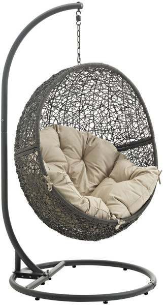 outdoor patio swing chair with stand Hide Gray Beige Outdoor Patio Swing Chair With Stand from