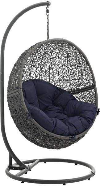 outdoor patio swing chair with stand Hide Gray Navy Outdoor Patio Swing Chair With Stand from