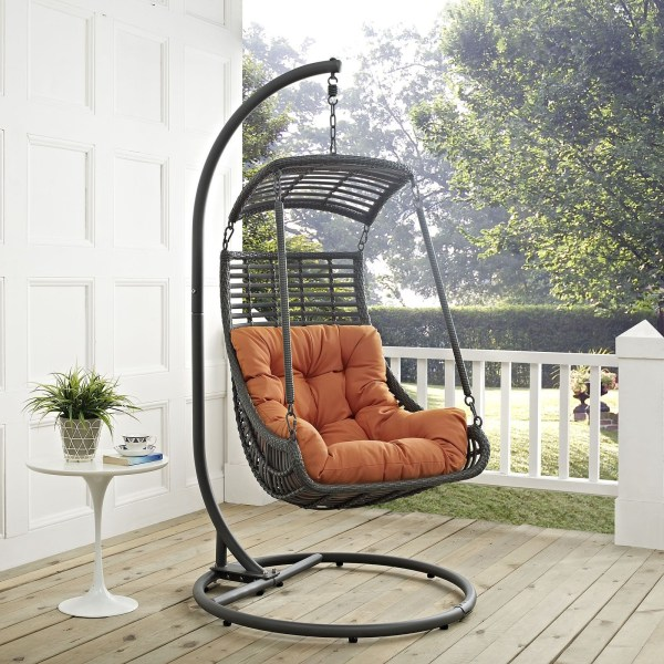 outdoor patio swing chair with stand Jungle Orange Outdoor Patio Swing Chair With Stand, EEI