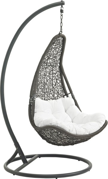 outdoor patio swing chair with stand Abate Gray White Outdoor Patio Swing Chair With Stand, EEI