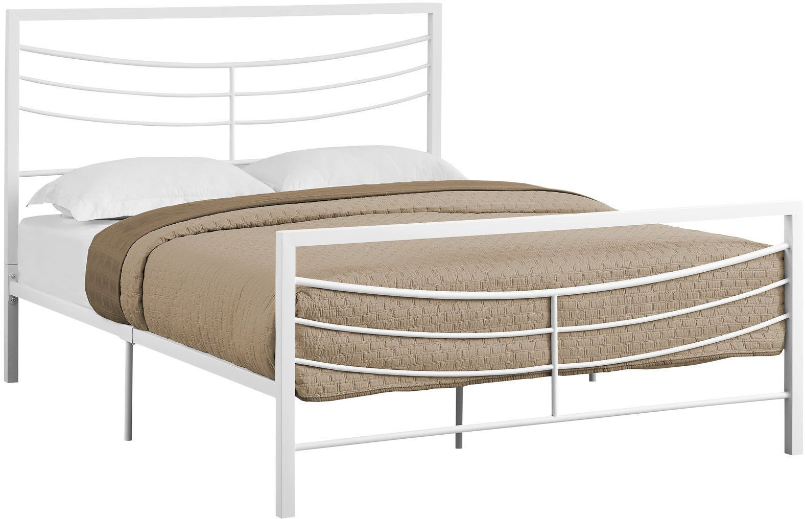 2640Q White Metal Queen Panel Bed From Monarch