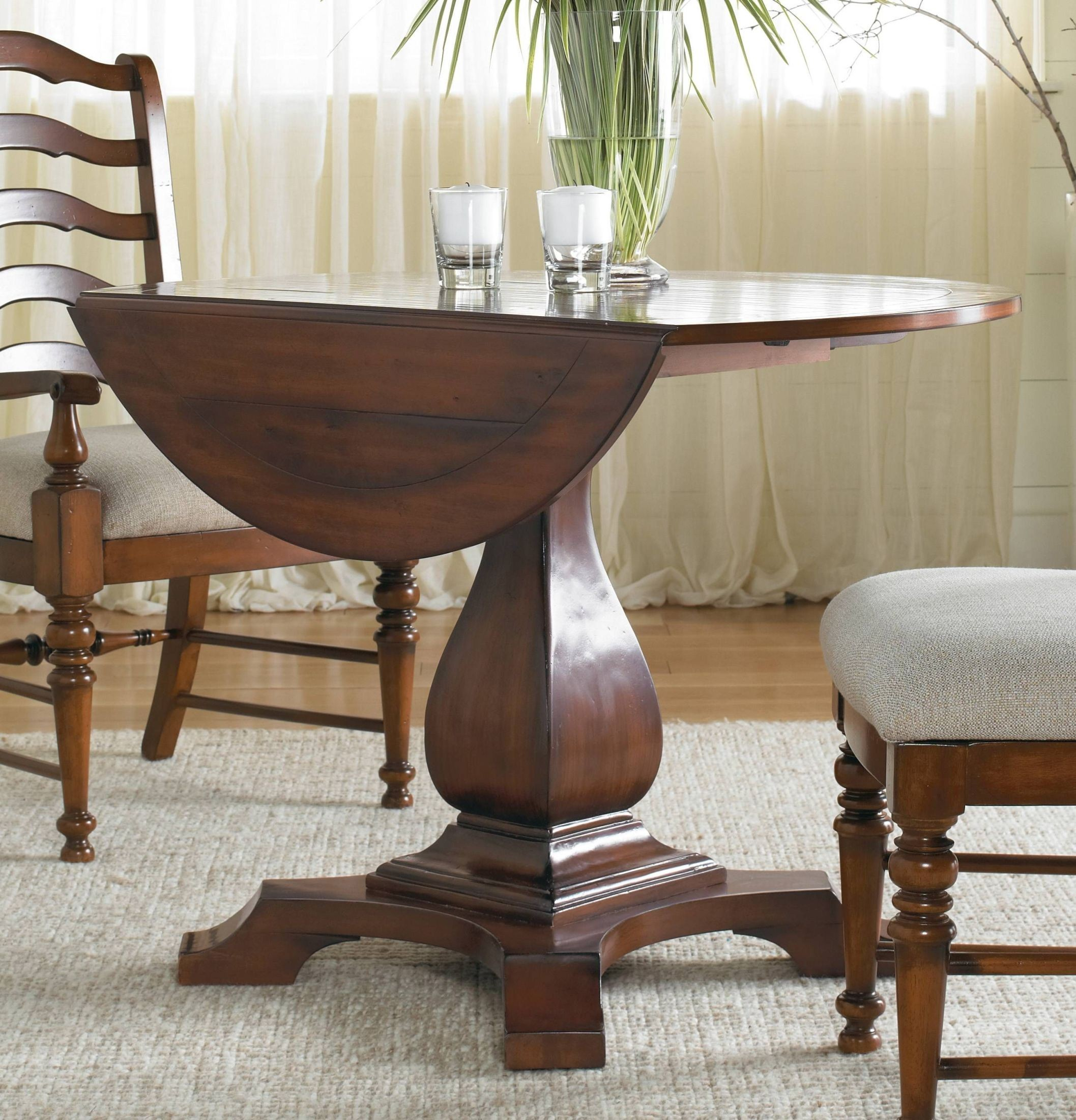 Waverly Place Cherry Round Drop Leaf Pedestal Dining Table From Hooker Coleman Furniture