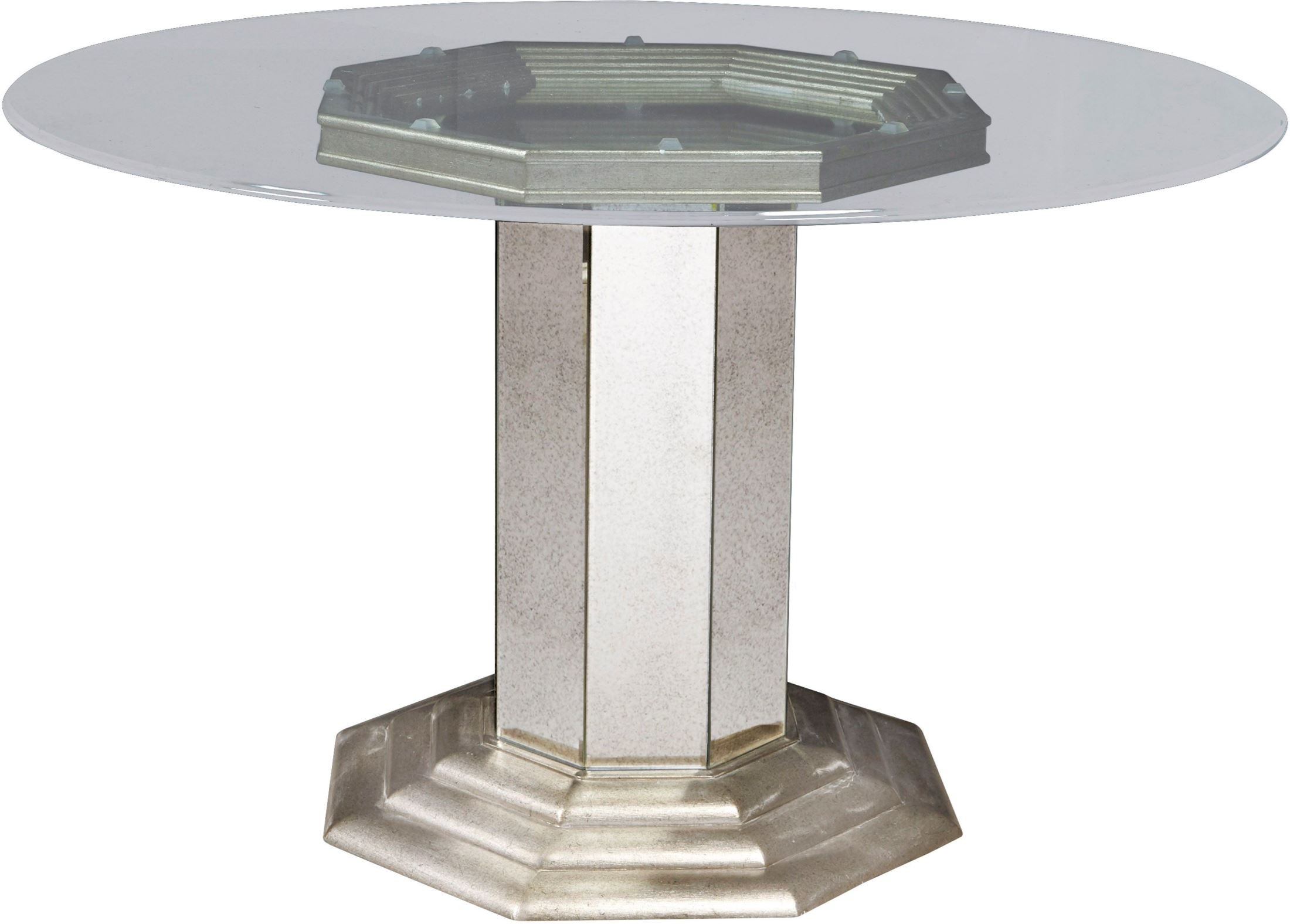 Couture Silver Round Pedestal Dining Table P 31