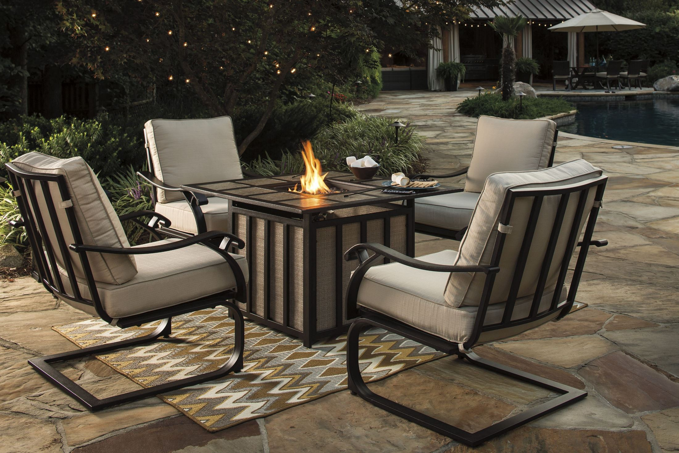 Wandon Beige and Brown Outdoor Square Fire Pit Outdoor ... on Outdoor Dining Tables With Fire Pit id=77276