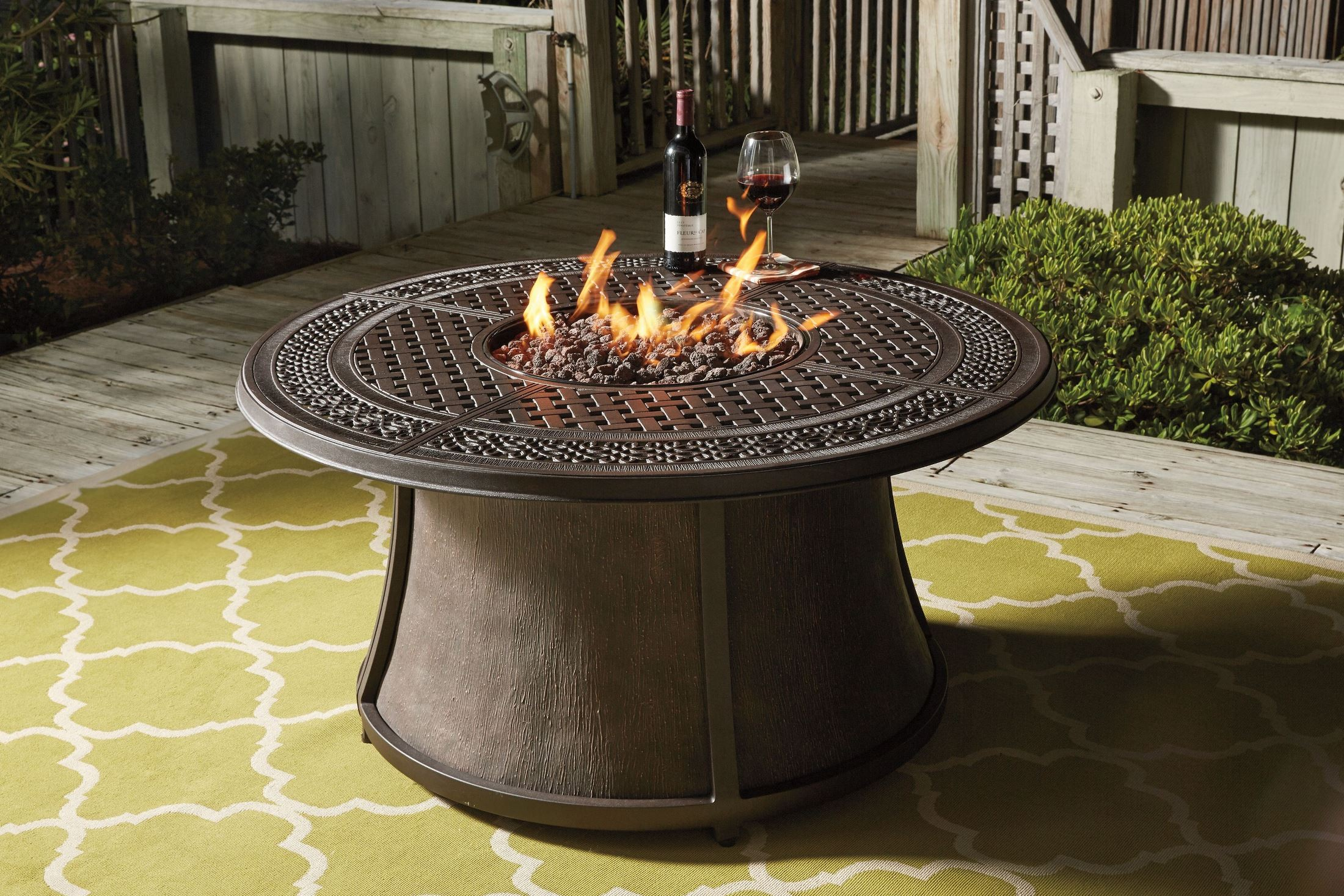 Burnella Round Fire Pit Outdoor Dining Set, P456-776T-776B ... on Outdoor Dining Tables With Fire Pit id=81421