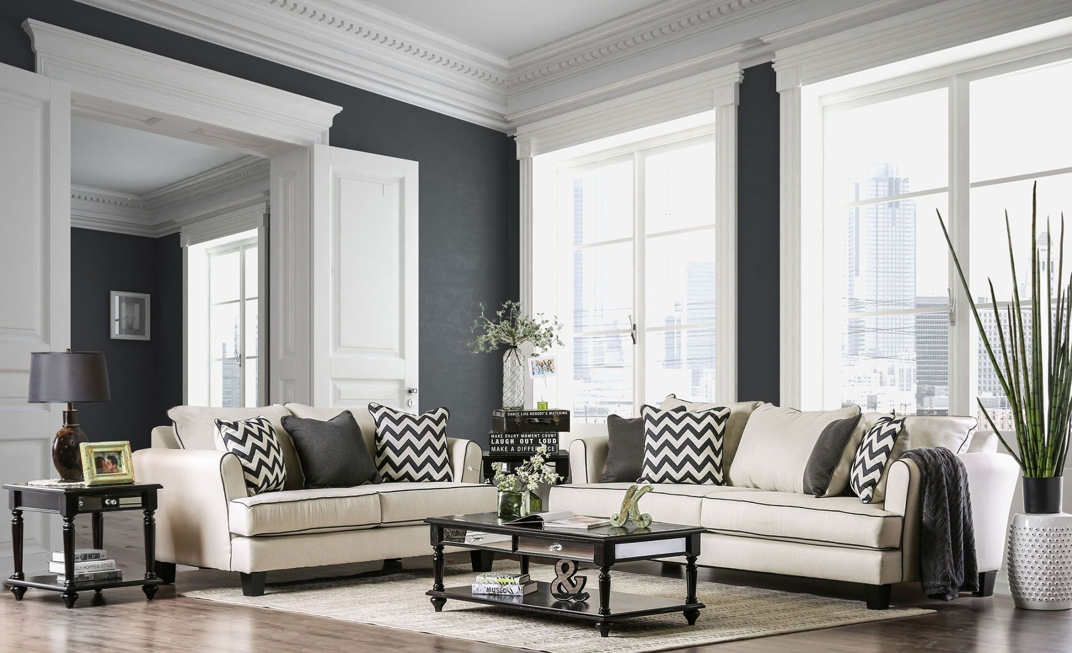 Percey Off-White Living Room Set, SM1278-SF, Furniture Of