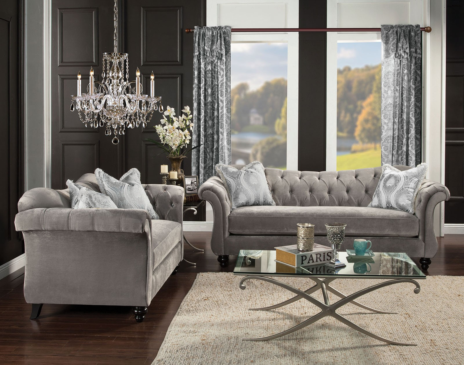 We may earn commission on some of the items you choose to buy. Antoinette Dolphin Gray Living Room Set from Furniture of ...