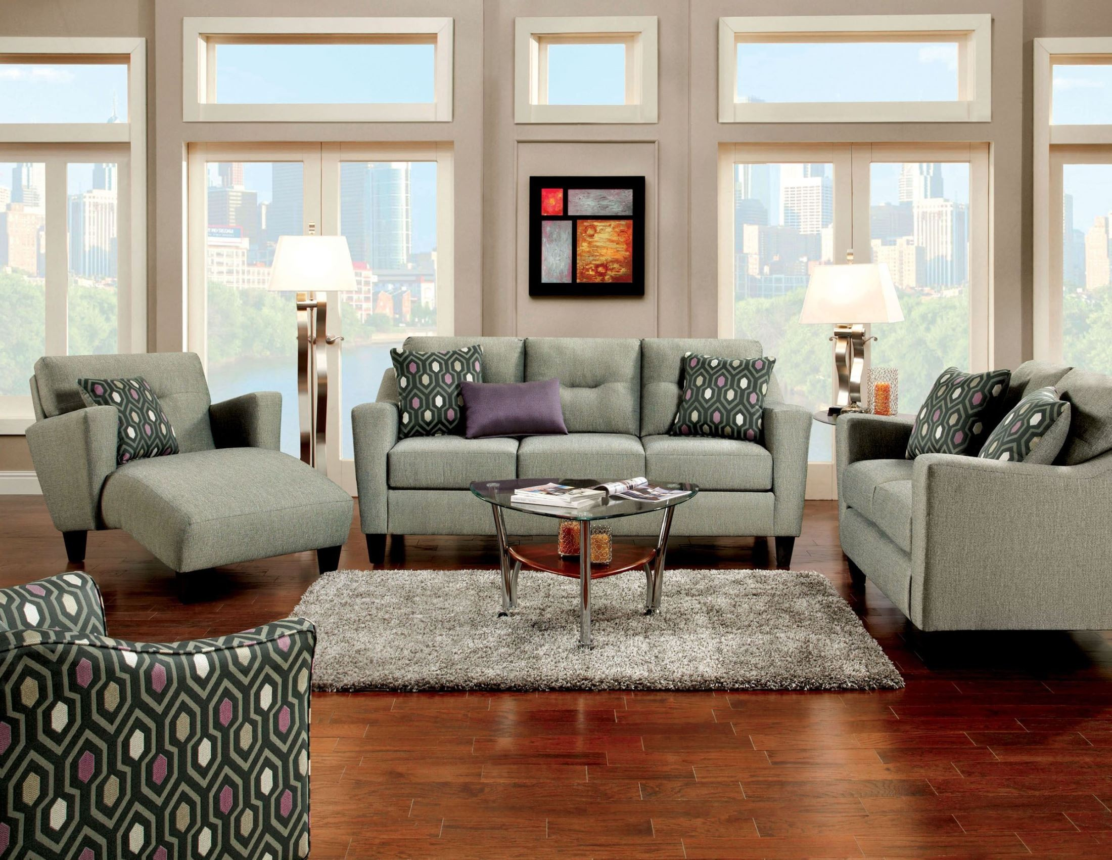 Coltrane Gray Fabric Living Room Set From Furniture Of