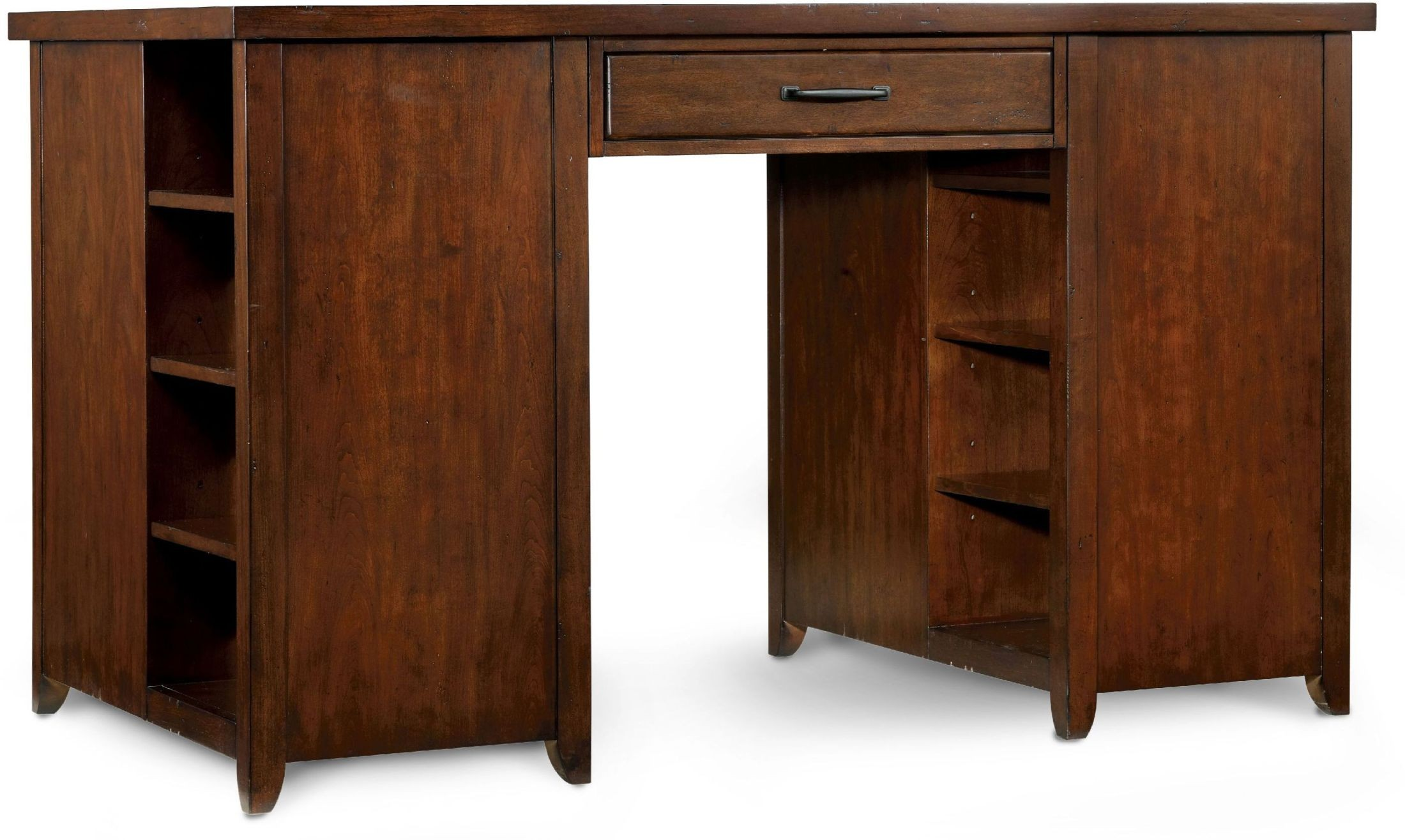 Wendover Utility Cherry Two Pedestal Drawer Desk From