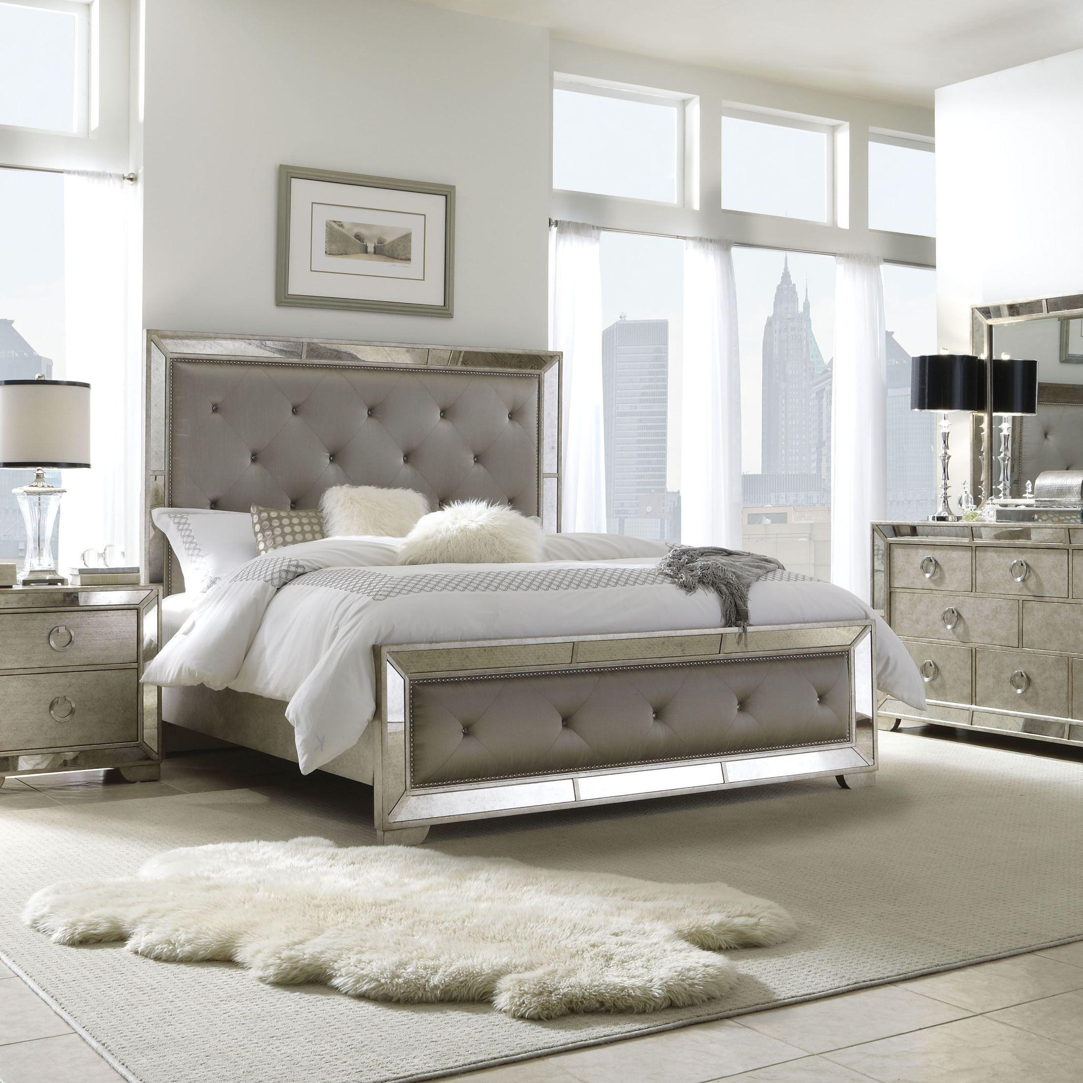 Farrah Gold King Upholstered Panel Bed From Pulaski