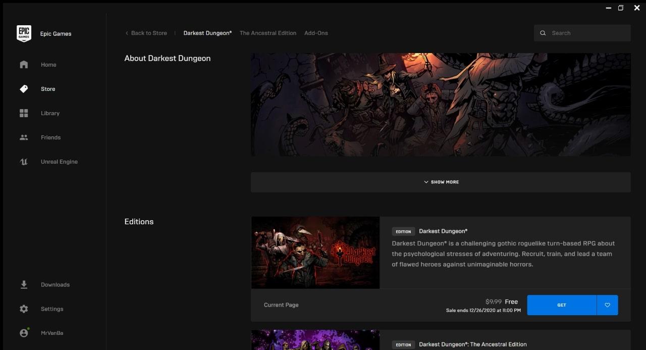 Epic: Darkest Dungeon