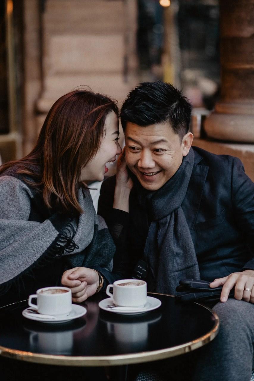 Couple photo Le Nemours Paris Cafe the tourist