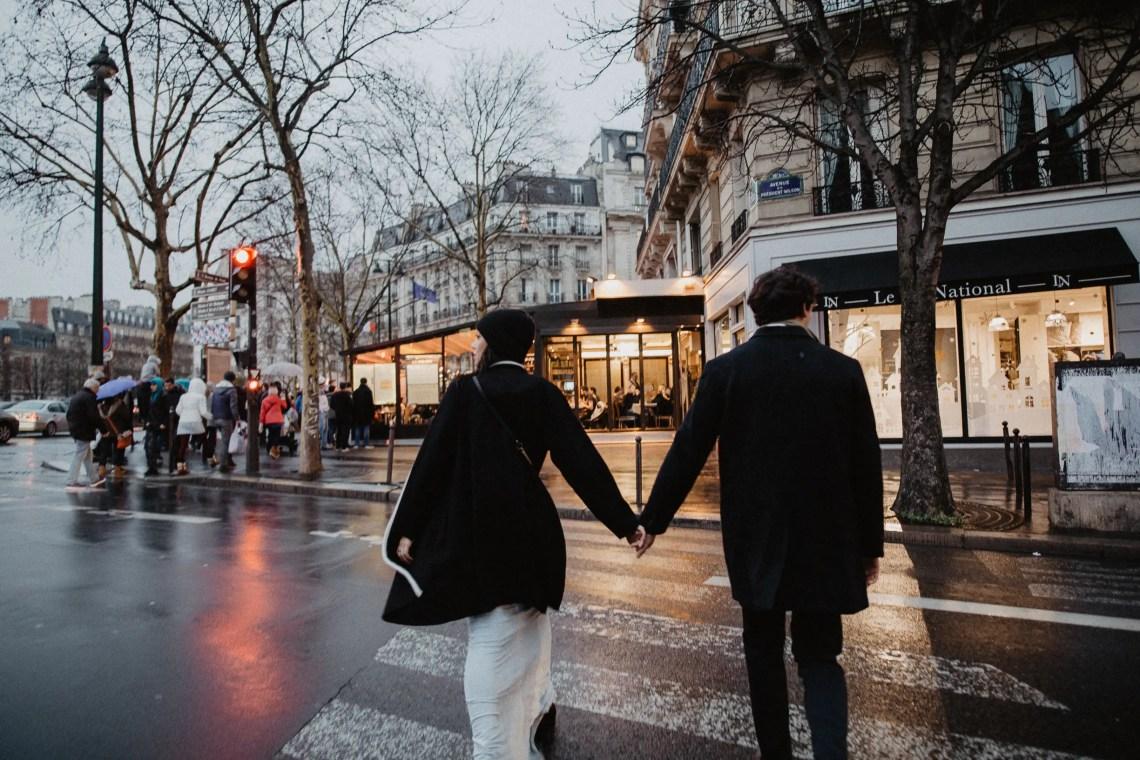 Winter elopement photography Paris street
