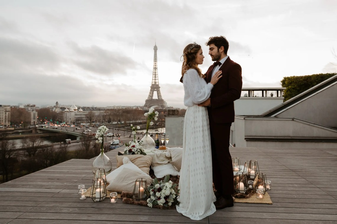 1U1A2529-Edit Parisian Winter Rooftop Elopement Weddings Weddings & Couples  Couple Photography in Paris eiffel tower elopement photography paris feature mariage hiver paris mariage photographe winter wedding paris