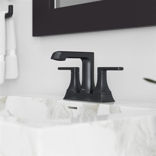 pfister penn 2 handle 4 in centerset bathroom faucet in matte black