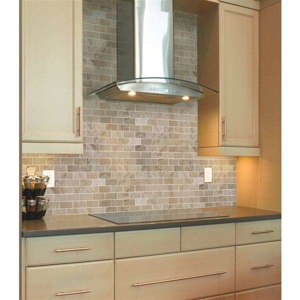 faber 12 in x 14 in palace taupe polished marble mosaic subway wall tile