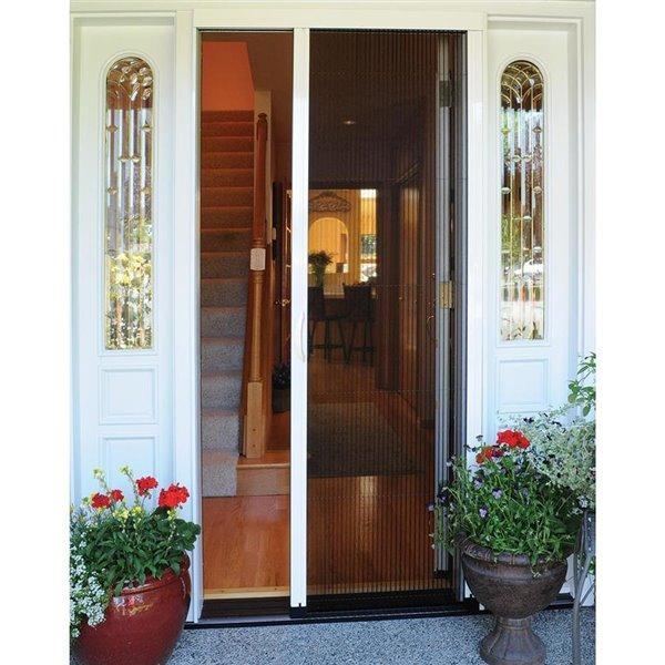 larson inspire 39 in x 79 in desert tan retractable slidng screen door